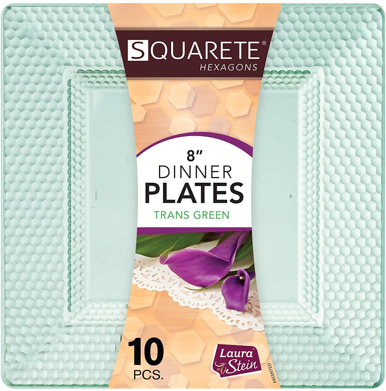 Squarete Hexagons Translucent Green Hard Plastic Elegant Disposable Plates, Bowls & Cups (1, 8