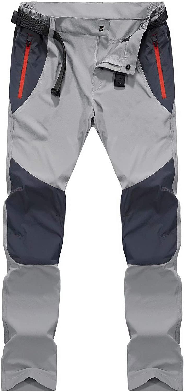 MAGCOMSEN Men's Hiking Pants with Zipper Pockets Quick Dry Elastic Waist Lightweight Fishing Work Pants