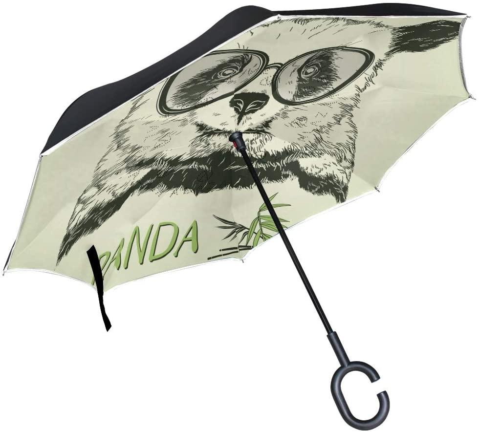 OREZI Portrait of Panda Reverse Umbrella Large Double Layer C-Shaped Handle Folding Umbrella Windproof UV Protection Golf Umbrella for Woman and Men