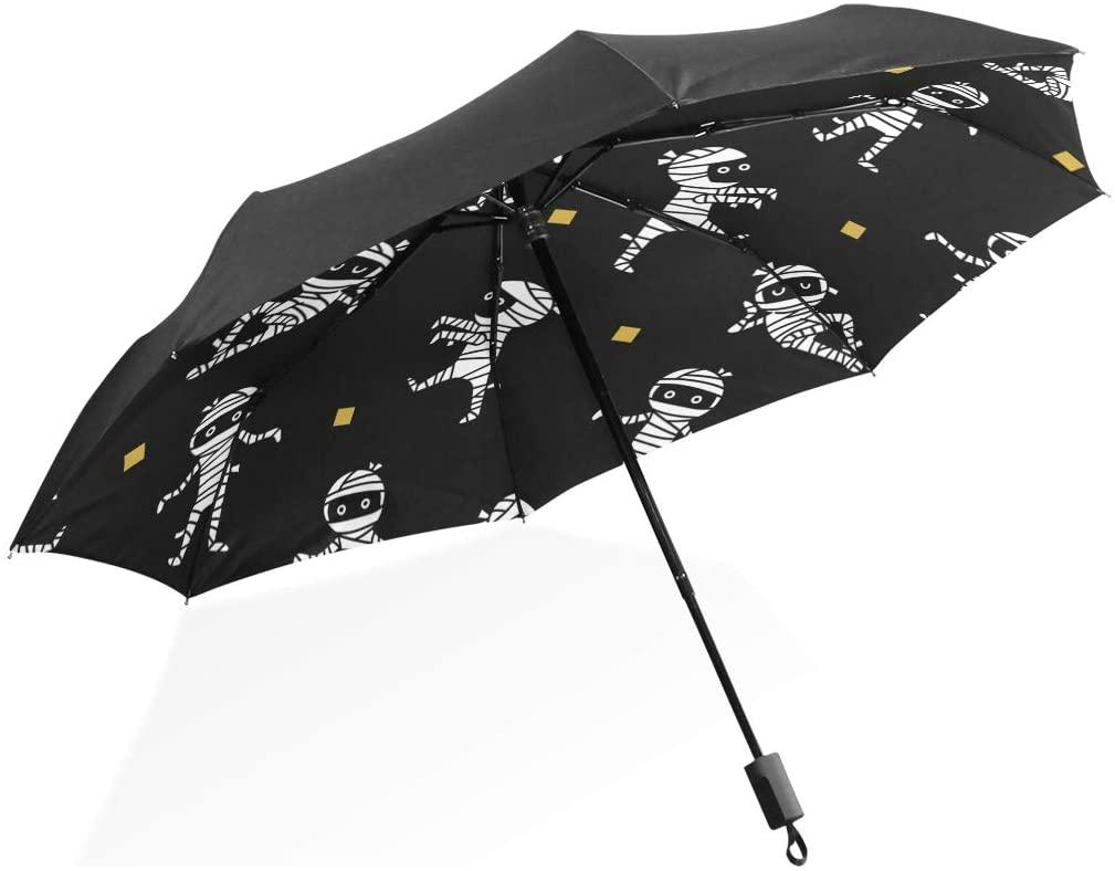 ATZUCL Cartoon Mummy Umbrella Folding Sun Rain Umbrella Windproof and UV Protection Umbrella