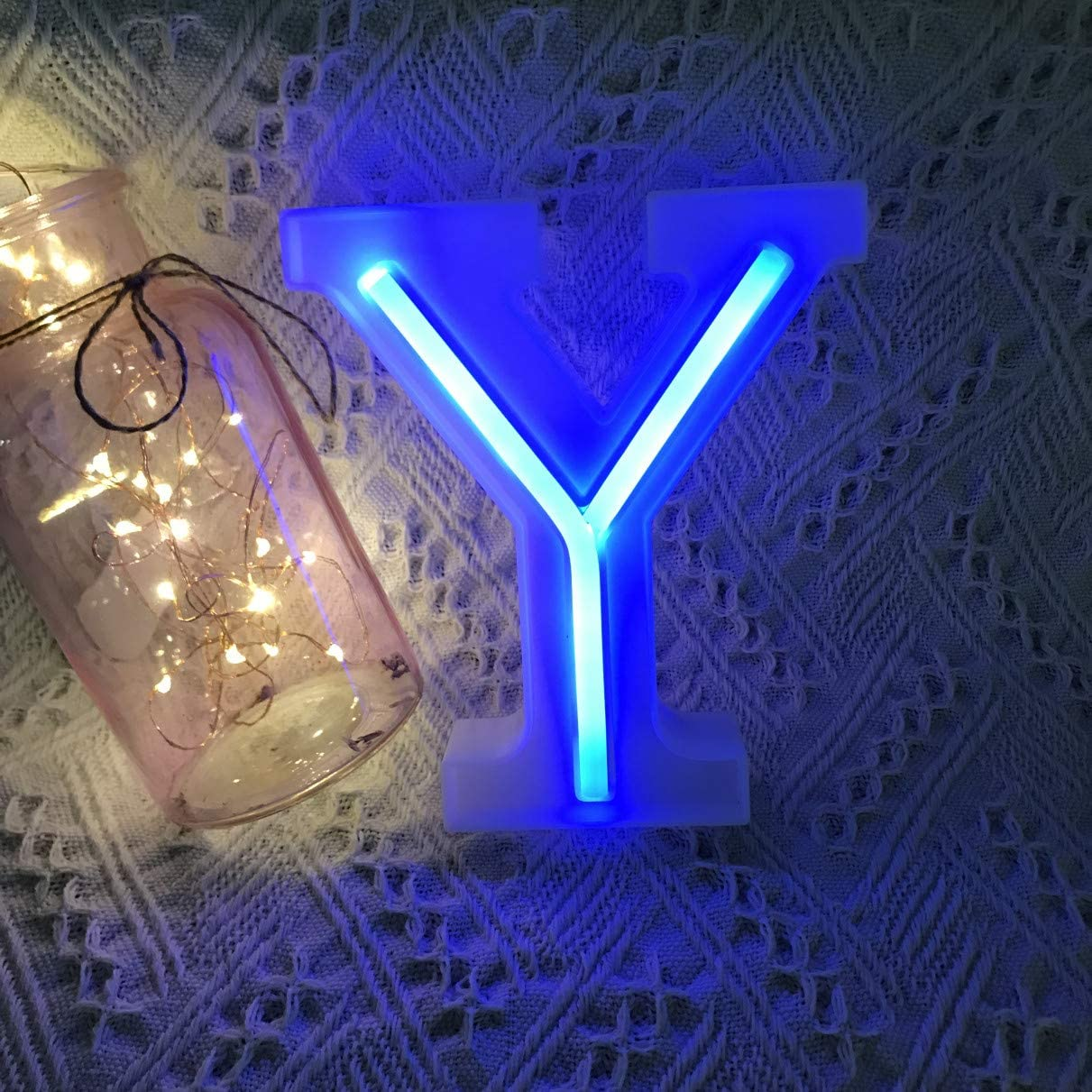 QiaoFei Light Up Marquee Letters Lights Letters Neon Signs, Pink Wall Decor/Table Decor for Home Bar Christmas, Birthday Party, Valentinefs Day Words-Blue Letters (Y)