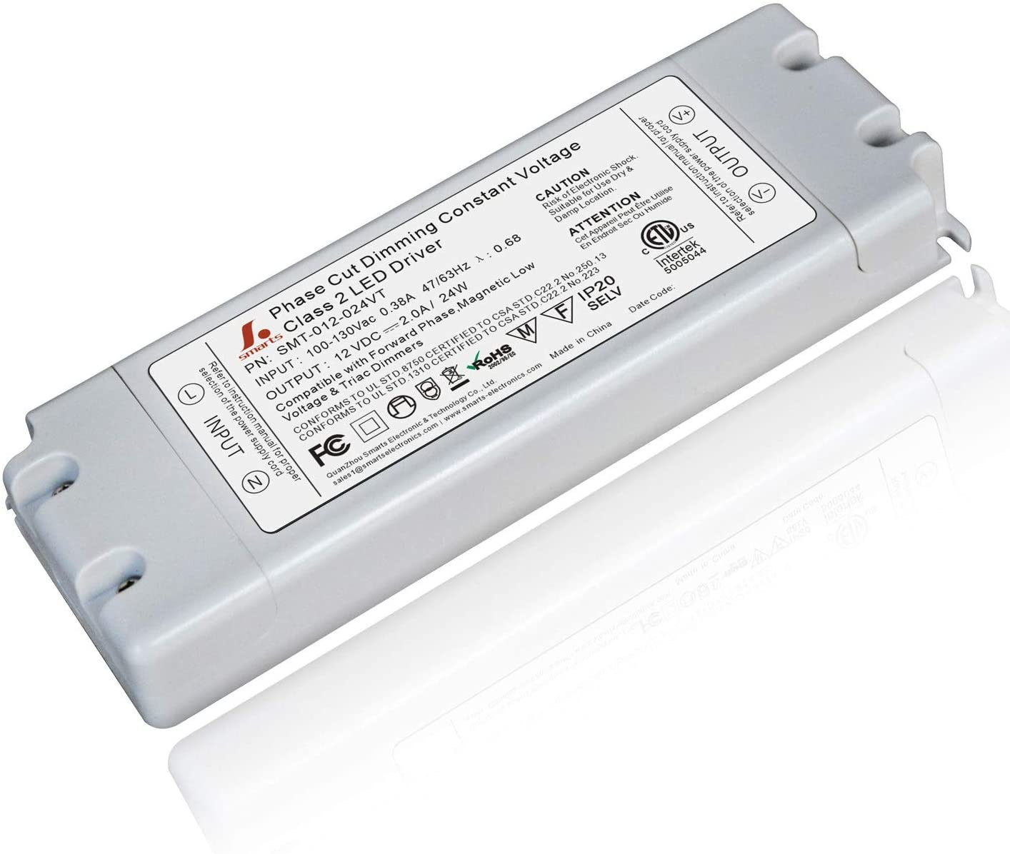 Smarts Electronics 24 Watt LED Dimmable Driver 100-130V AC-12V DC. Compatible with Lutron Dimmers and More for LED Strip Lights. Constant Voltage