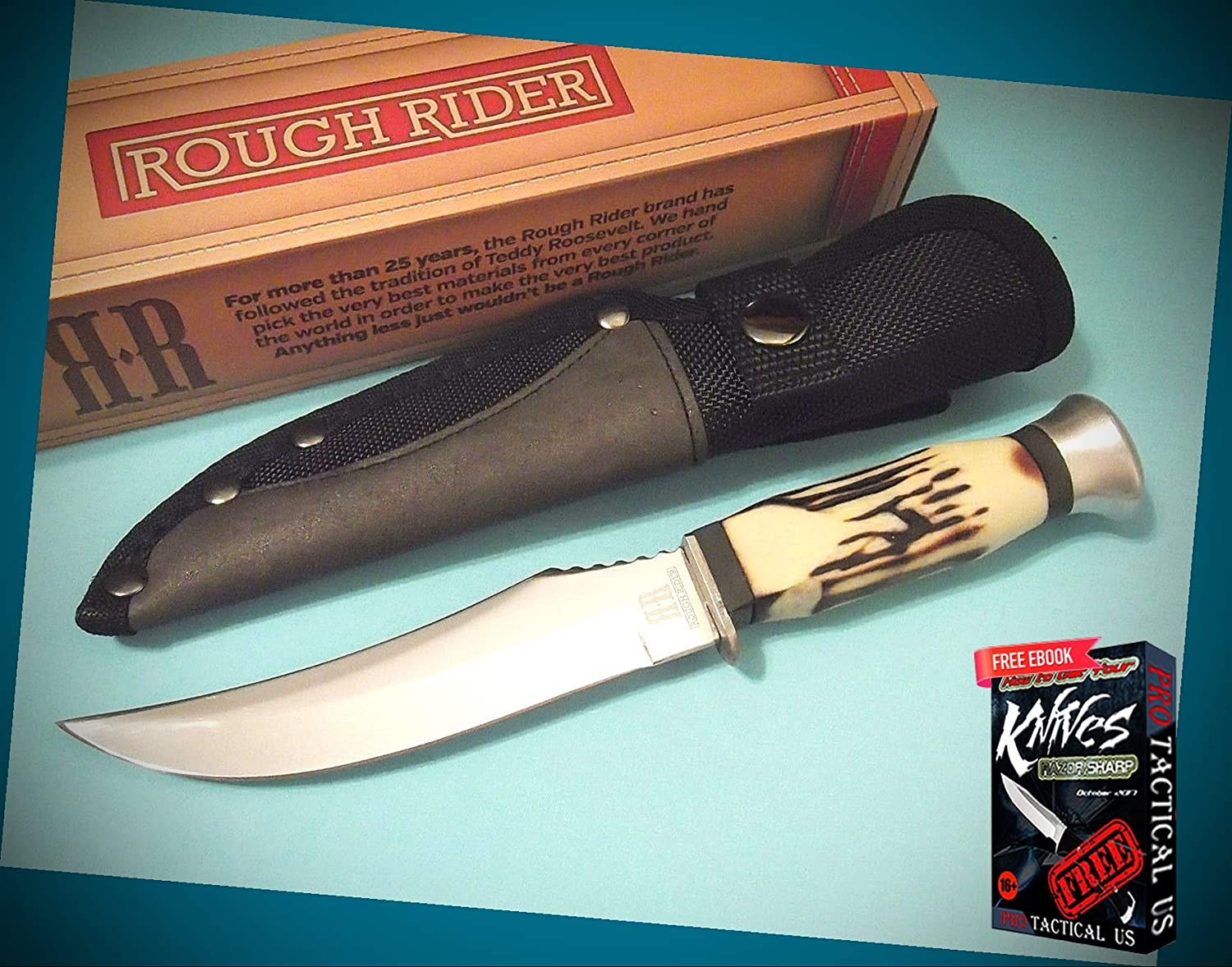 New ROUGH RIDER Imitation Stag delrin fixed blade hunt Pro Tactical Knife 9