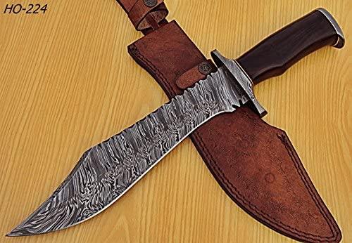 Poshland REG-HO-224 Handmade Damascus Steel 15.4 Inches Bowie Knife - Black Rose Wood-Damascus Steel Guards Handle
