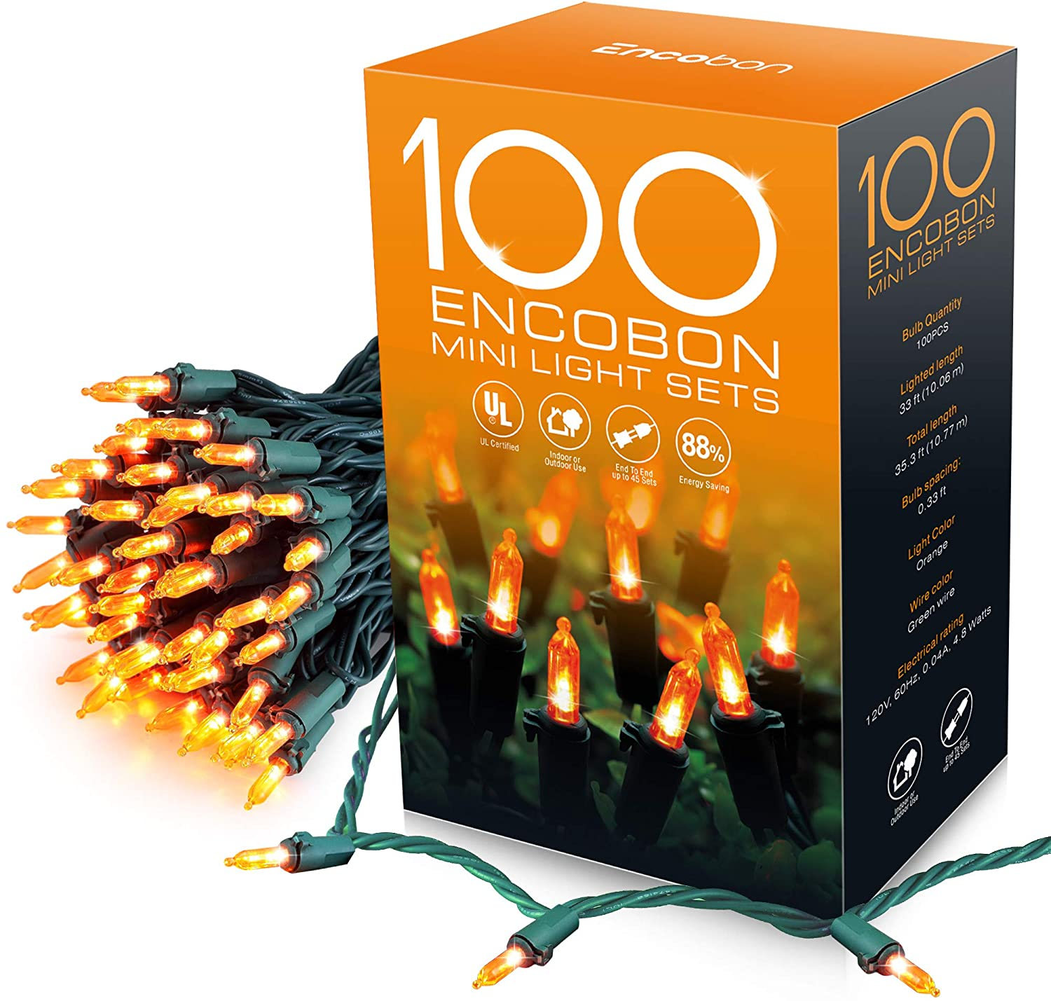 Encobon Orange Christmas Lights,33ft 100 LED String Lights, 120V UL Certified Xmas Tree Lights for Christmas, Halloween, Patio, Holiday, Party, Home, Indoor and Outdoor Decoration