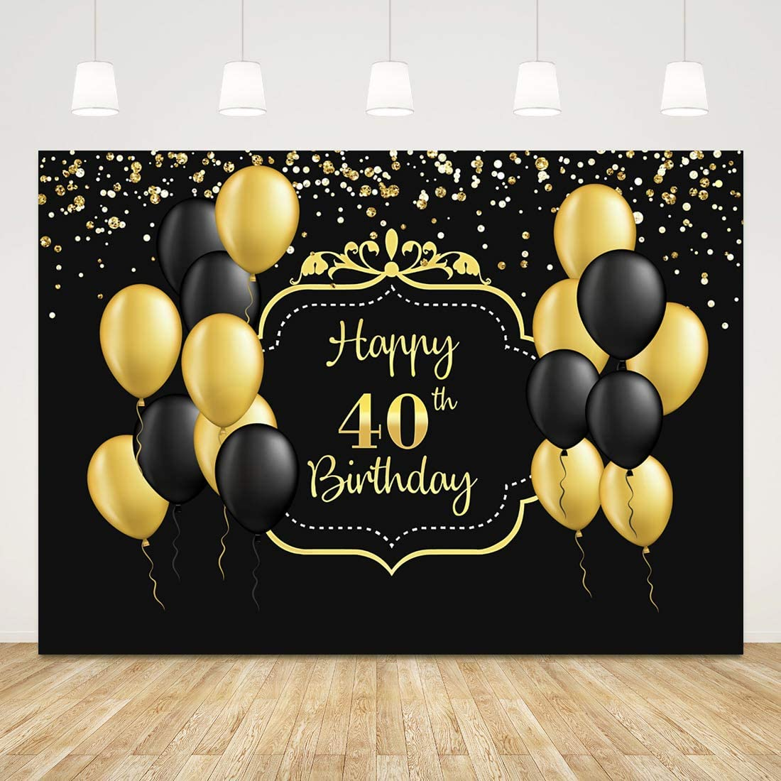 Happy 40th Birthday Backdrop for Men Women Black and Gold 40 Birthday Background 7x5ft Balloons 40th Birthday Backdrops for Party 40th Birthday Photo Props Forty Birthday Decorations Cake Table Decor