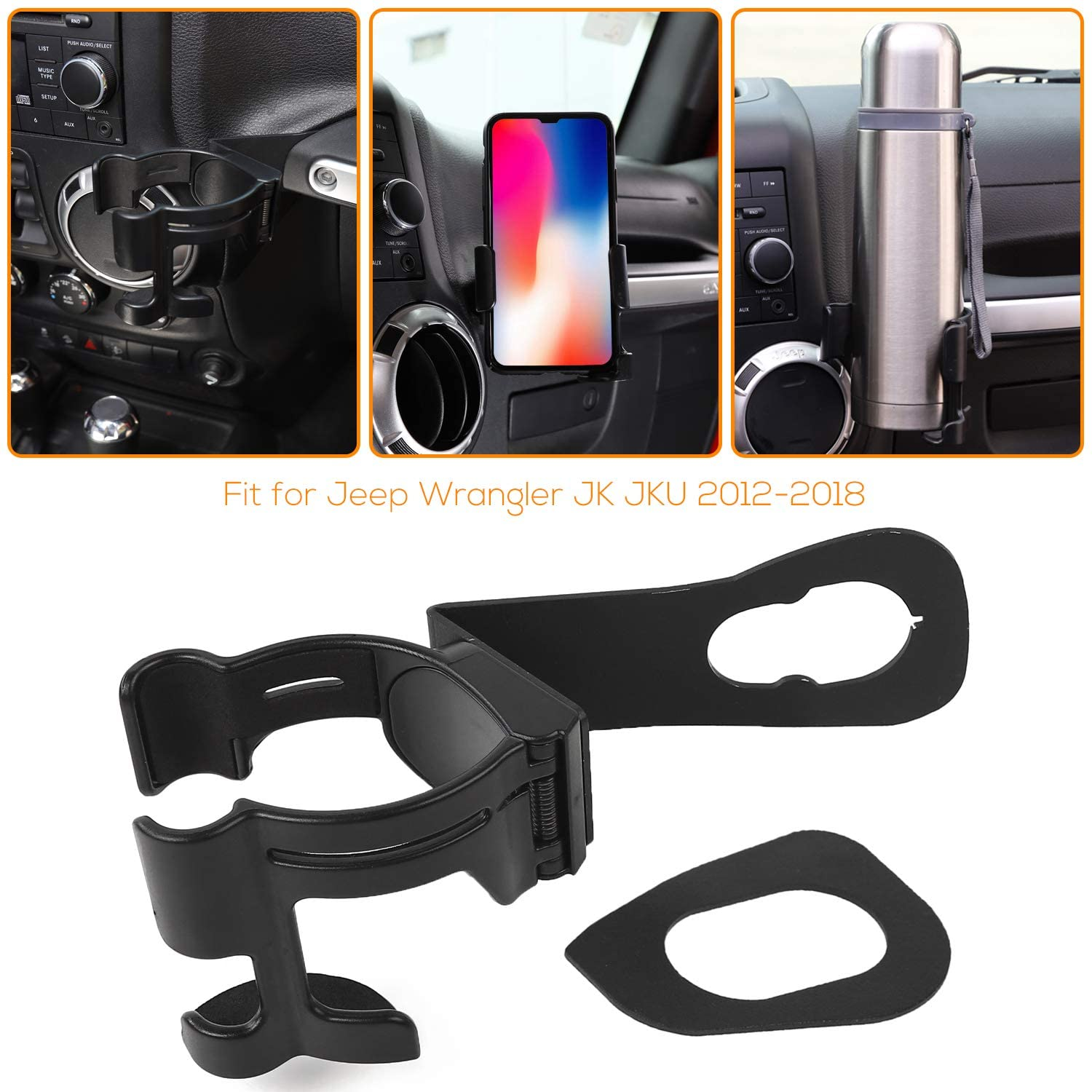 2 in 1 JK Drink Cup Phone Holder, Bolt-on Stand Bracket Holder for 2012-2018 Jeep Wrangler JK Rubicon Sahara Sport 2/4 Doors