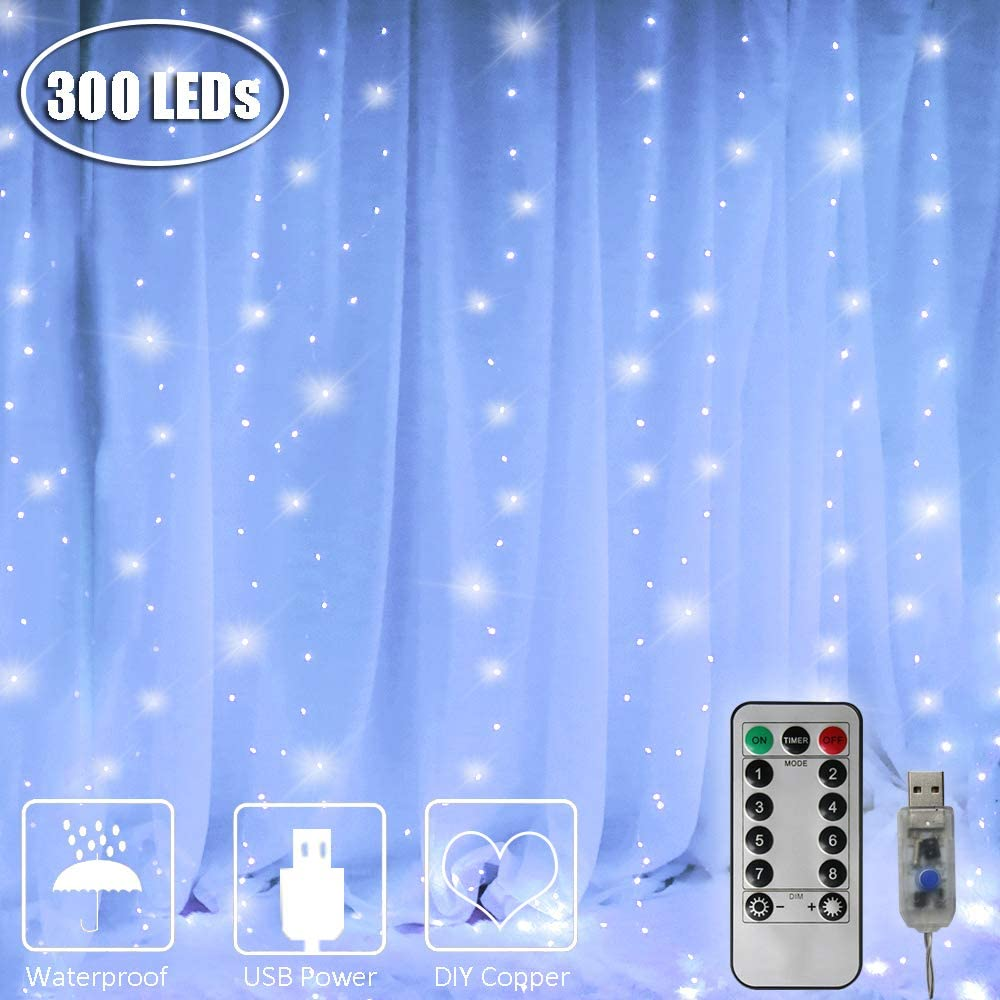 300 LED Copper Curtain Light, 8 Modes Remote Control USB Fairy String Lights for Indoor Outdoor, Festival, Holiday, Wedding Decorations-9.8ft x 9.8ft(White)