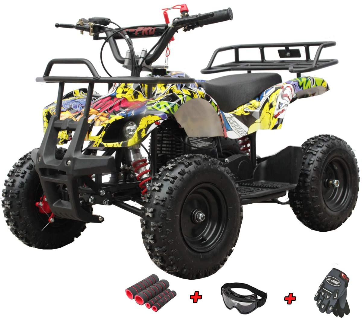 X-PRO Kids ATV 4 Wheelers 40cc ATV Quads Kids Quad with Gloves, Goggle and Handgrip (Hip-Hop)