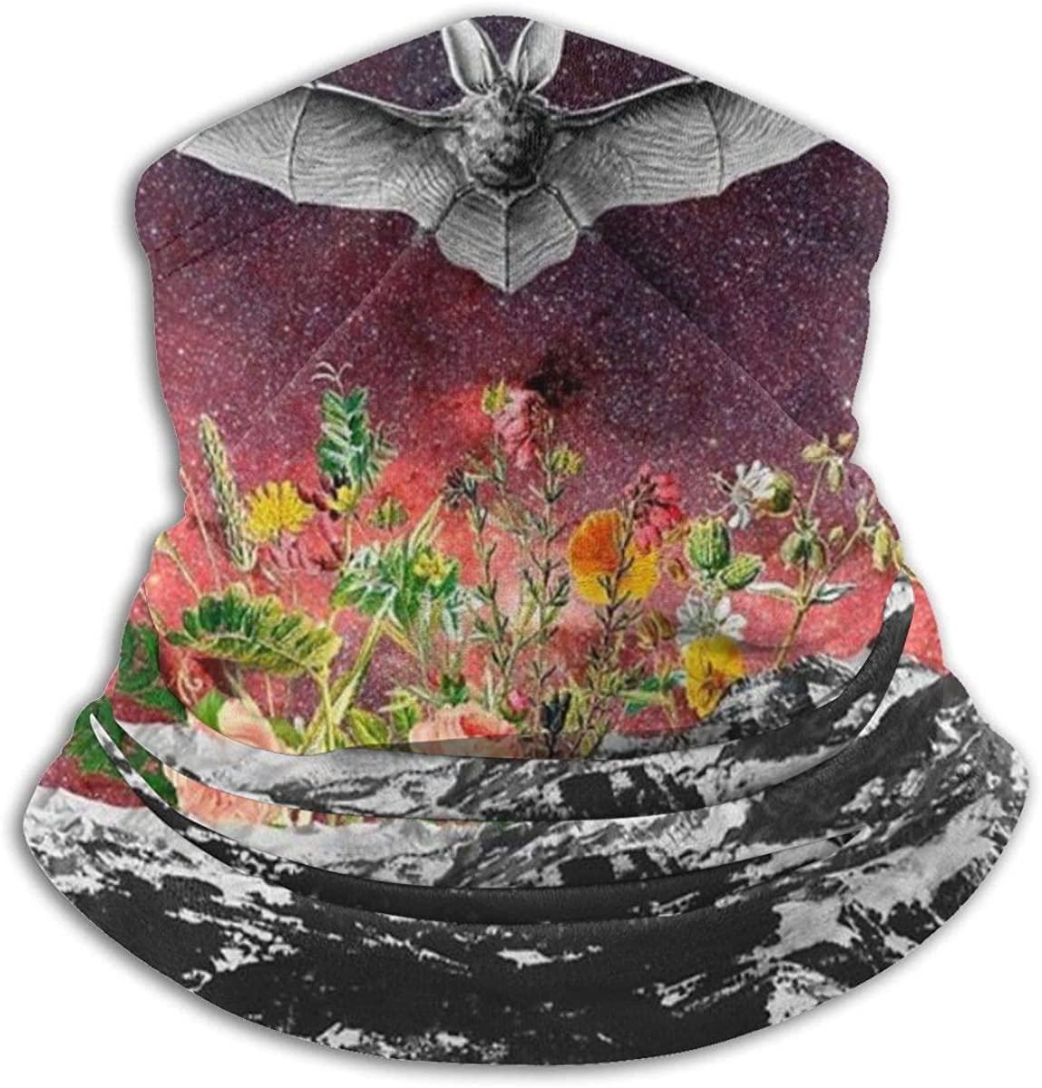 QBahoe Space Bat Flowers Galxy Unisex Fleece Neck Gaiter Warmer Winter Windproof Ski Face Mask Balaclava Half Mask for Women Men