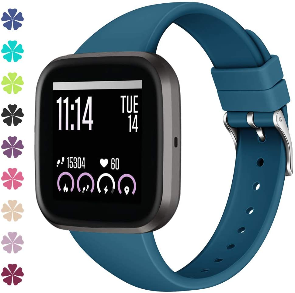 Slim Bands Compatible with Fitbit Versa 2 Bands/Versa/Versa Lite/Versa SE Soft Silicone Sport Band Wristbands Strap for Women Men Q6#1024 (#16,Size Large)