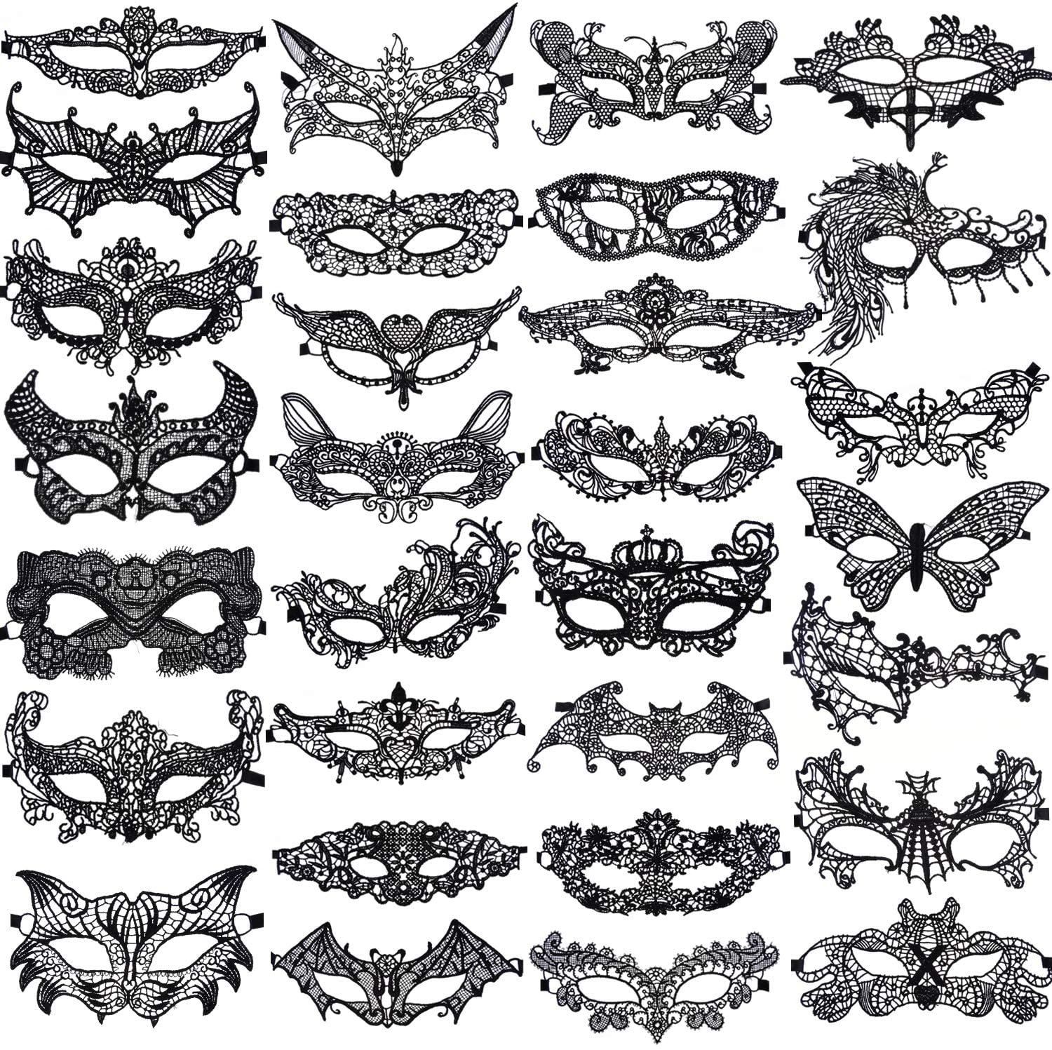SIQUK 30 Pieces Black Lace Masquerade Mask Women Venetian Masks Lace Mask