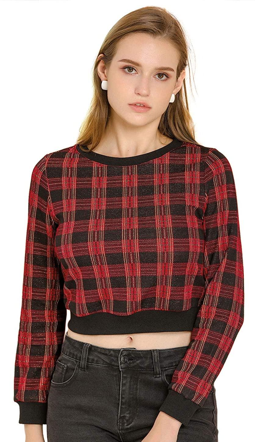 Allegra K Women's Plaid Crew Neck Ribbed Top Long Sleeve Crop Sweatshirt
