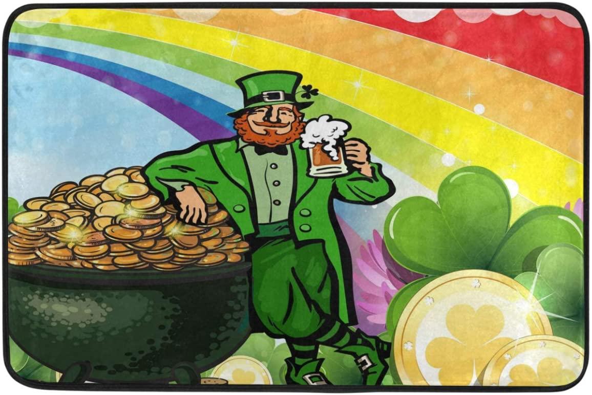 St.Patrick's Day Decoration Doormat Home Decor Beer Leprechaun Green Rainbow Pot Golden Coins Welcome Indoor Outdoor Entrance Bathroom Floor Mats Non Slip Washable Hoilday Pet Food Mat, 24x16 inch