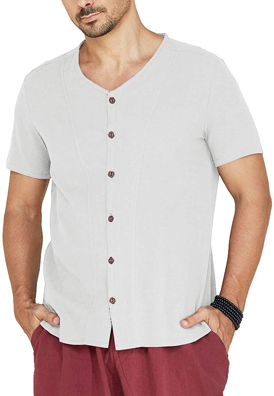 COOFANDY Men's Cotton Linen Shirt Loose Fit Short Sleeve Button Down Shirt Summer Beach Casual Shirt Blouse Tops