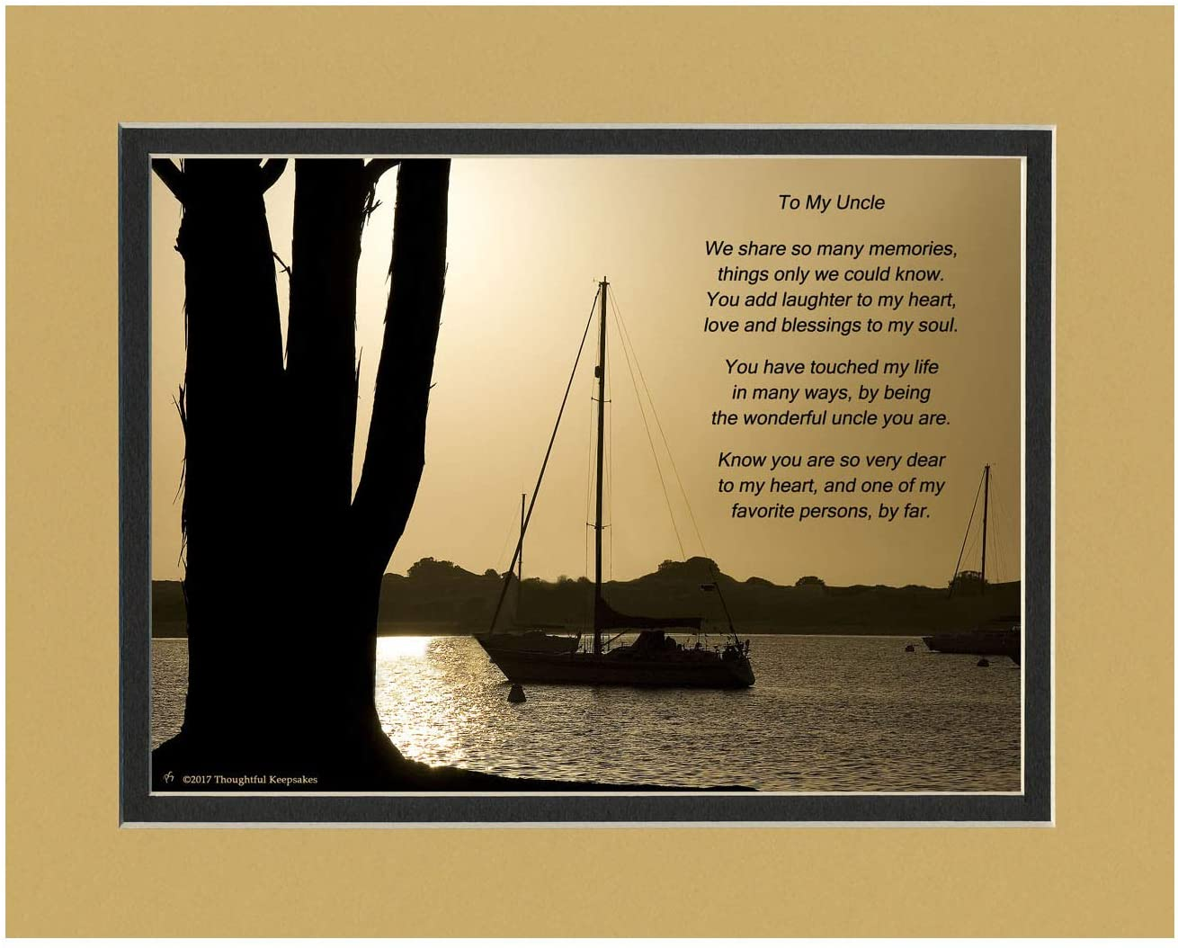 Uncle Gift with Wonderful Uncle Poem. Boats at Dusk Photo, 8x10 Matted. Special Birthday or Christmas Gift for Uncle.