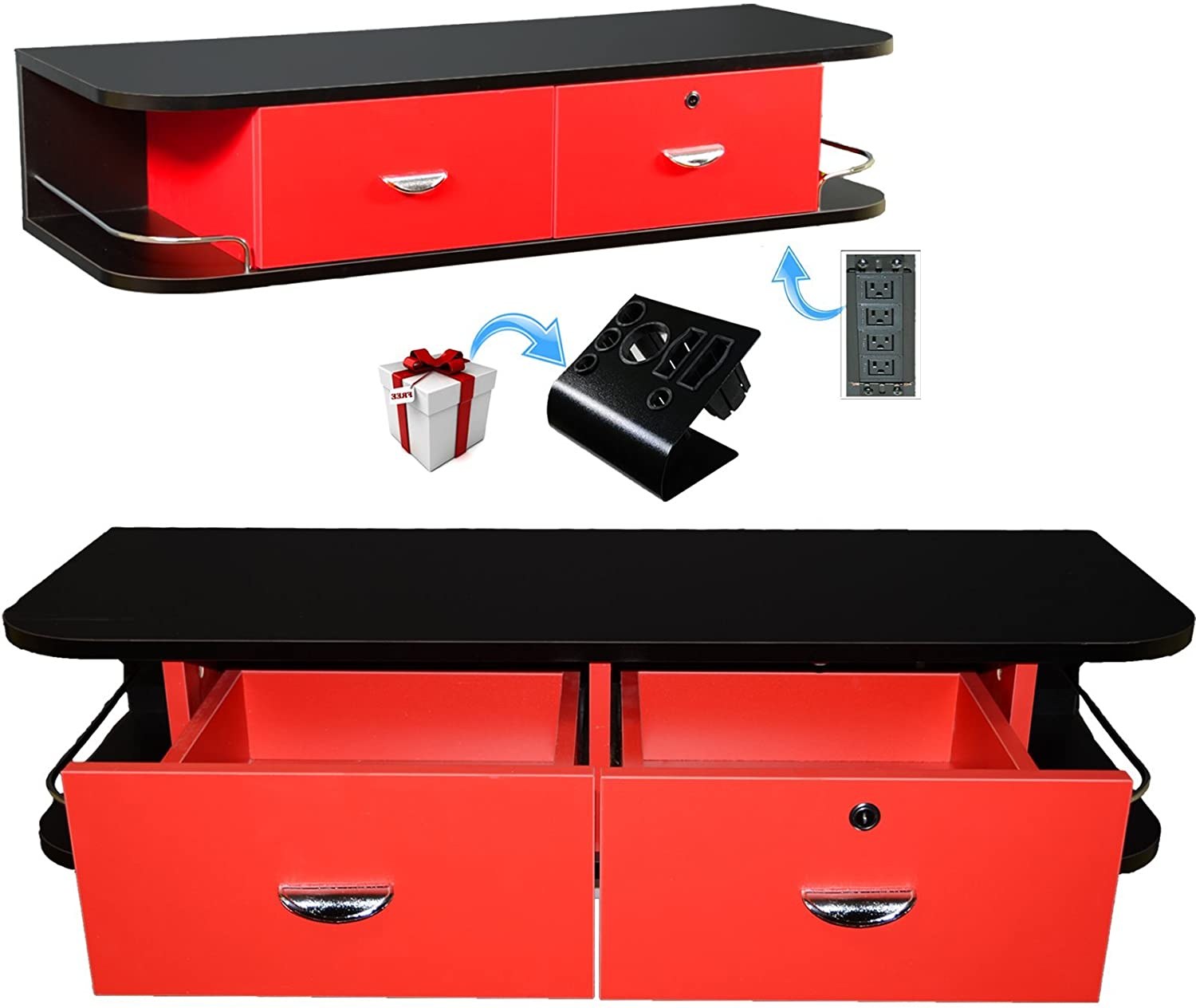 Black & Red Locking Wall Mount Styling Tattoo Station with Black Metal Table Top Machine Holder & 4 Port Power Strip