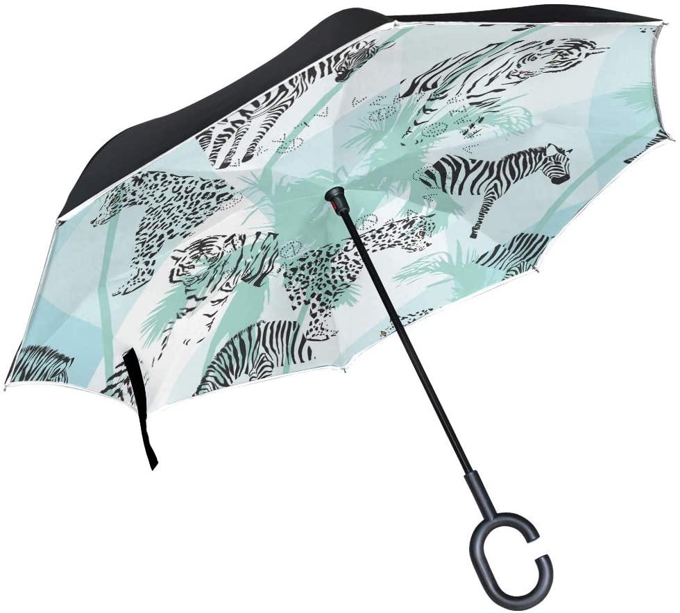 SUABO Reverse Folding Umbrella Black Color Animals Inverted Umbrellas Double Layer Windproof Umbrella for Car Rain Outdoor with C-Shaped Handle