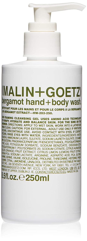 Malin + Goetz Essential Bergamot Hand + Body Wash—purifying, hydrating hand + body wash for men + women. for all skin types, even sensitive. No stripping or irritation. Cruelty-free + vegan 8.5 Fl oz