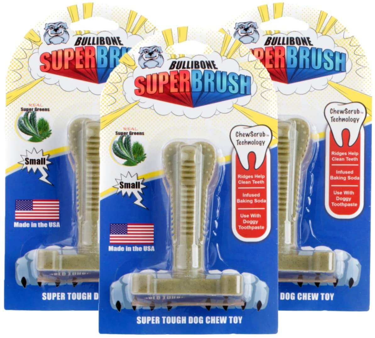 Bullibone SuperBrush: Dog Teeth Cleaning Brushing Toothbrush Stick - Long Lasting Nylon Chew Toy for Oral Care and Dental Health