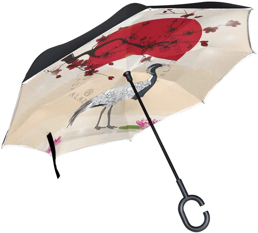 ABLINK ALAZA Stylish Japanese Crane and Sakura Windproof UV Proof Reverse Folding Umbrella, Double Layer Travel Inverted Umbrella with C Shape Handle for Car Use