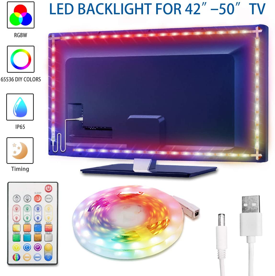 TV Backlight 8.3ft Waterproof RGBW 5050LEDs 65536 DIY Colors Changing LED Strip Lights with Remote 30mins Timing Off 5V USB Powered LED Tape Light Kits for 42-50in TV Monitor Bedroom Decor