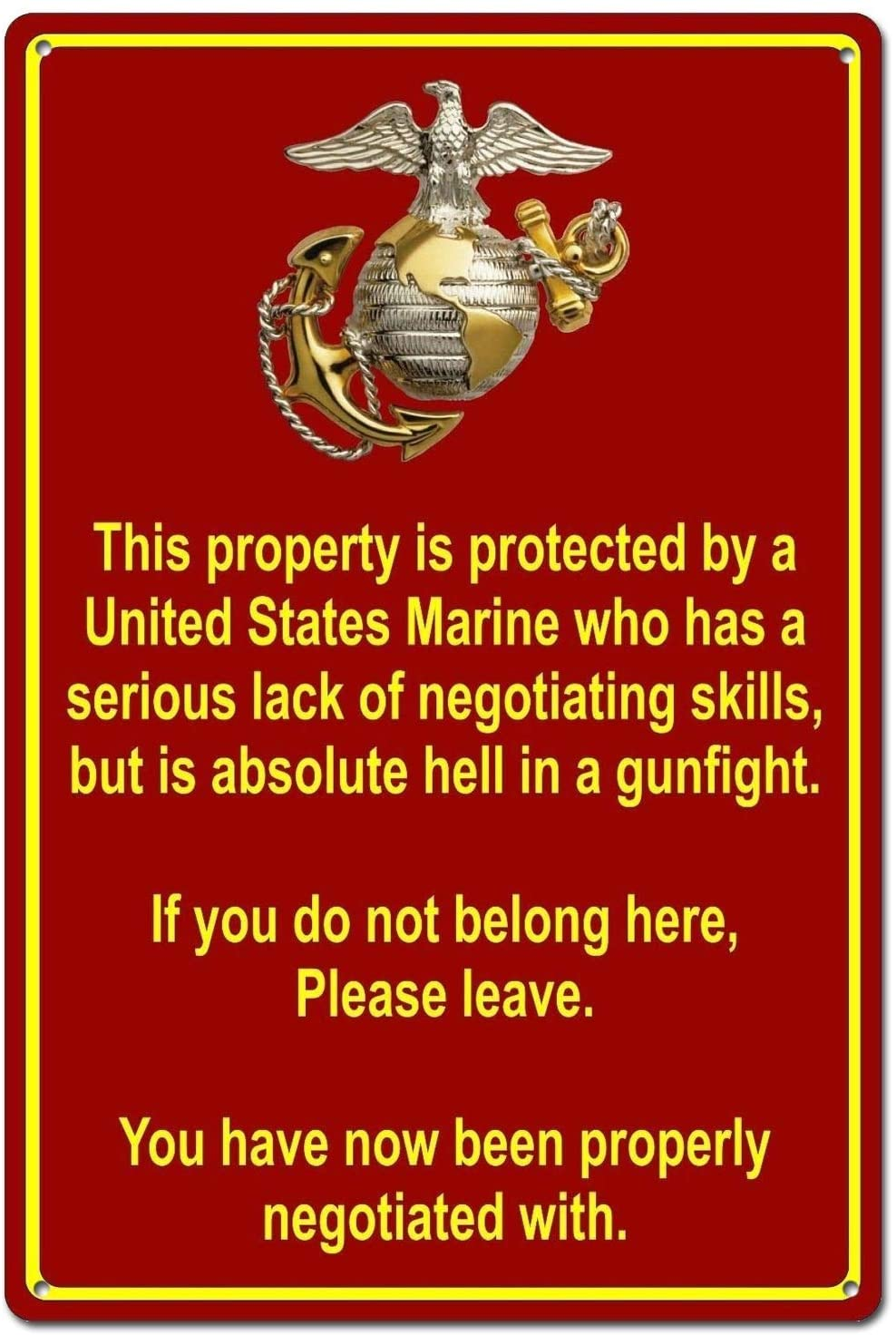 Property Protected by Marine USMC Marine Corps Funny Tin Sign Metal Sign Metal Decor Wall Sign Wall Poster Wall Decor Door Plaque TIN Sign 7.8X11.8 INCH