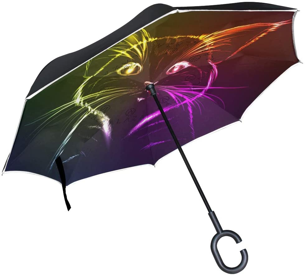 SUABO Inverted Umbrella Double Layer Reverse Umbrella Waterproof Windproof UV Protection Straight Umbrella with C-Shaped Handle Colorful Cat Digital Printing for Car Rain Outdoor Use
