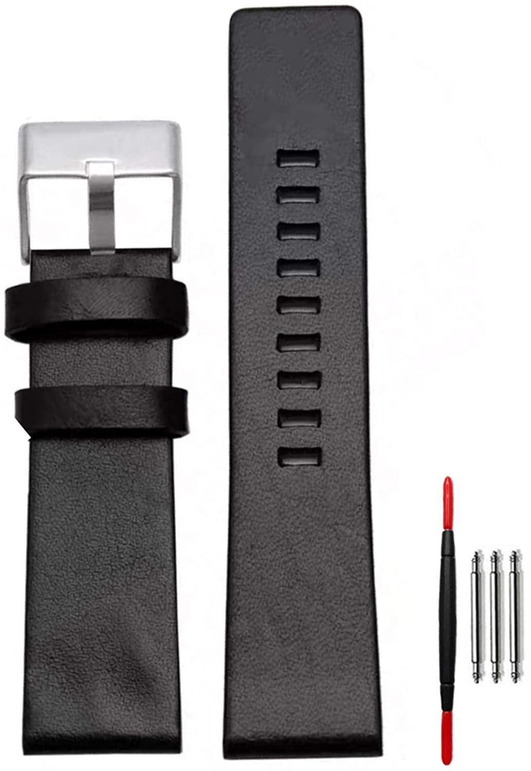 Replacement Watch Band,Calfskin Leather Diesel Watch Bands for Men Silver Rivet Suitable for Men's Diesel Watches