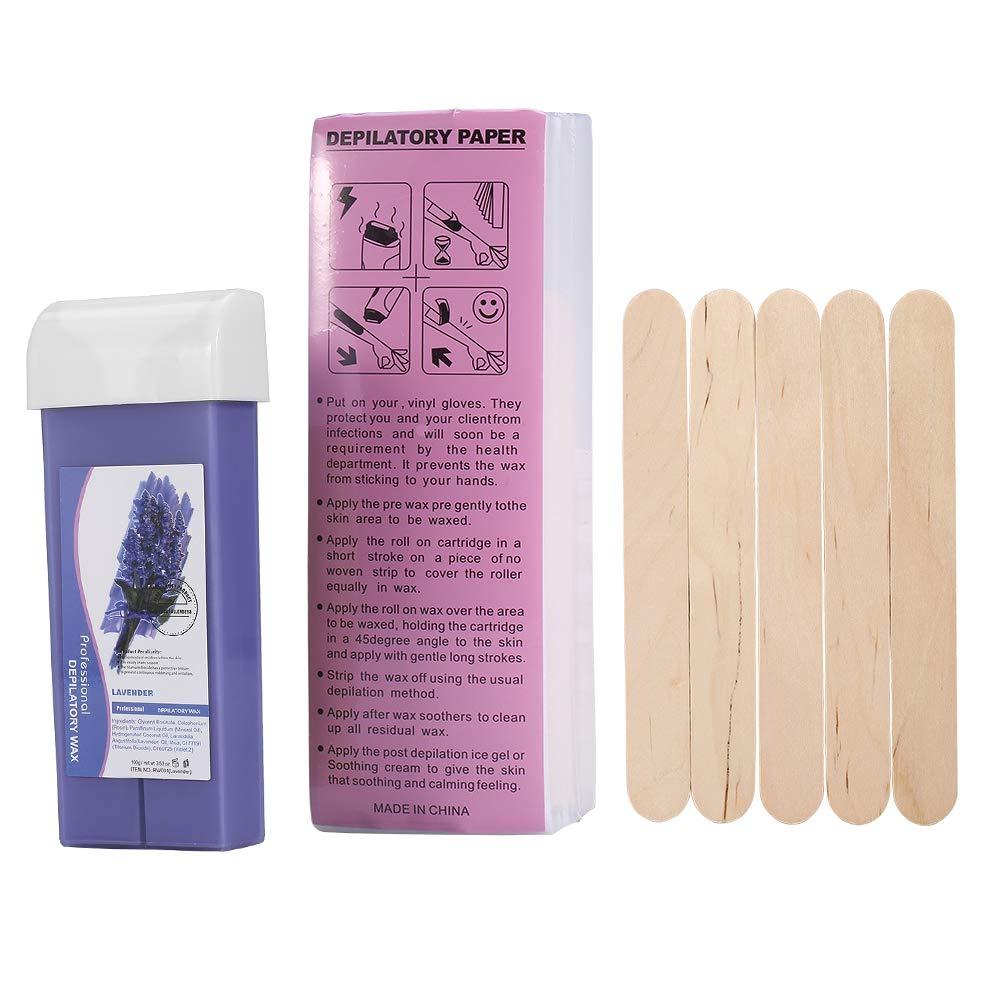 Waxing Roller, 3Types Cartridge Wax Depilatory Roller Warmer Heater Waxing Body Hair Removal Machine (Lavender)