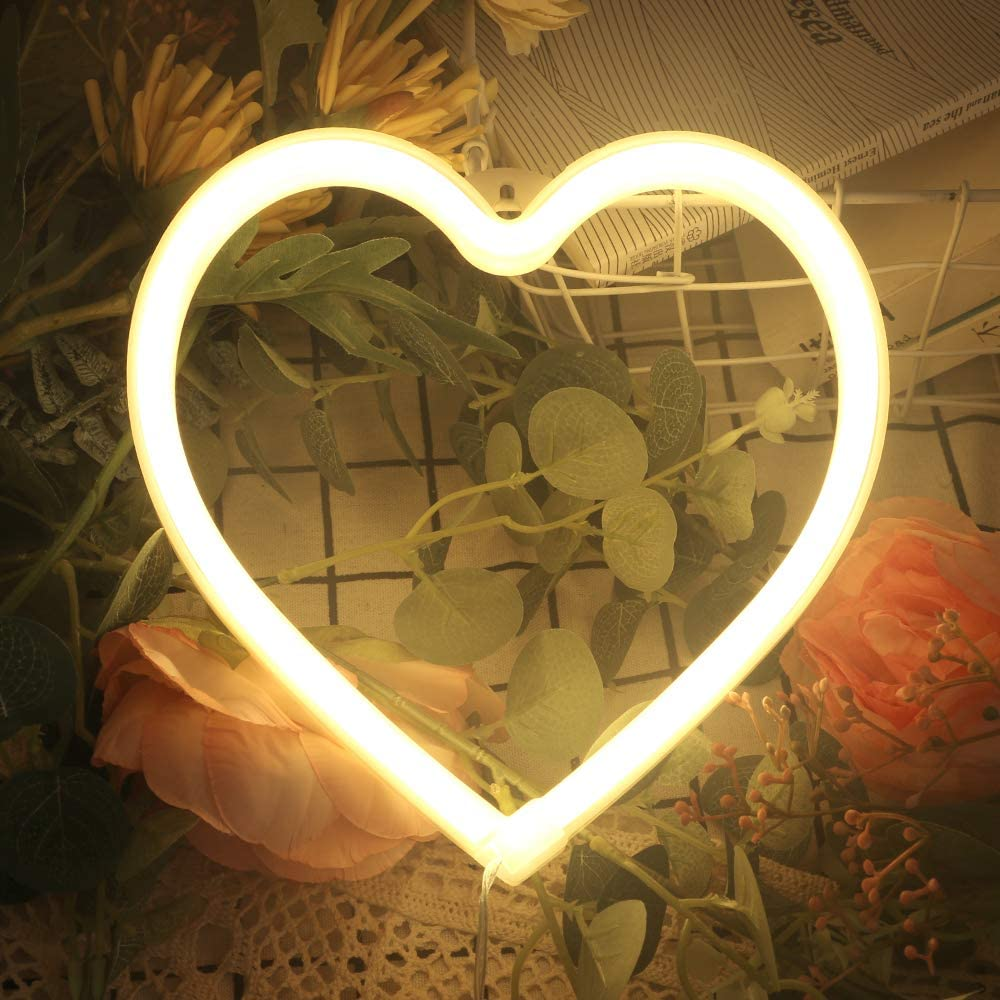 Heart Neon Signs for Wall Decor,USB or Battery Decor Light,Neon Light for Bedroom,LED Neon Decorative Lights for Christmas,Party,Girls Living Room(Warm White)