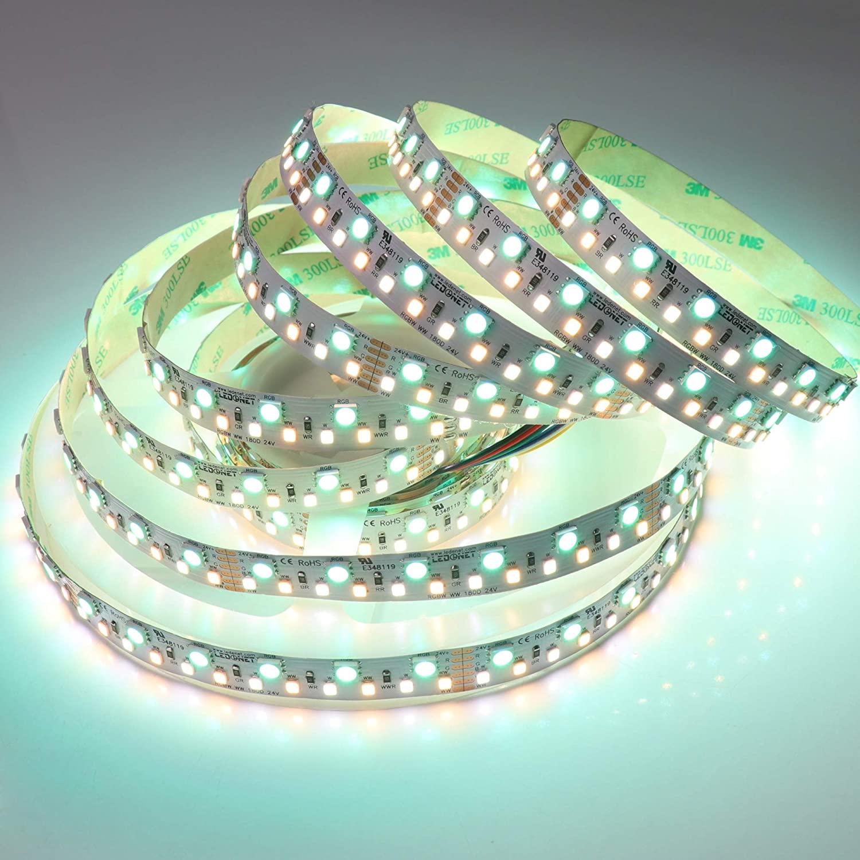 LEDENET Double Row 24V RGBCCT Flexible LED Strip Lighting 24 Volt 900LEDs/spool RGB W WW RGBW RGBWW Tunable White LED Tape Ribbon Lamp Non-Waterproof 5 Meters Long