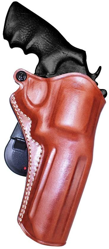Premium Leather Paddle Holster Open Top Fits, Smith Wesson V-Comp N-Frame Mod 629 44 Mag 6 Shot 4''BBL Unfluted Cylinder, Right Hand Draw, Brown Color #1463#