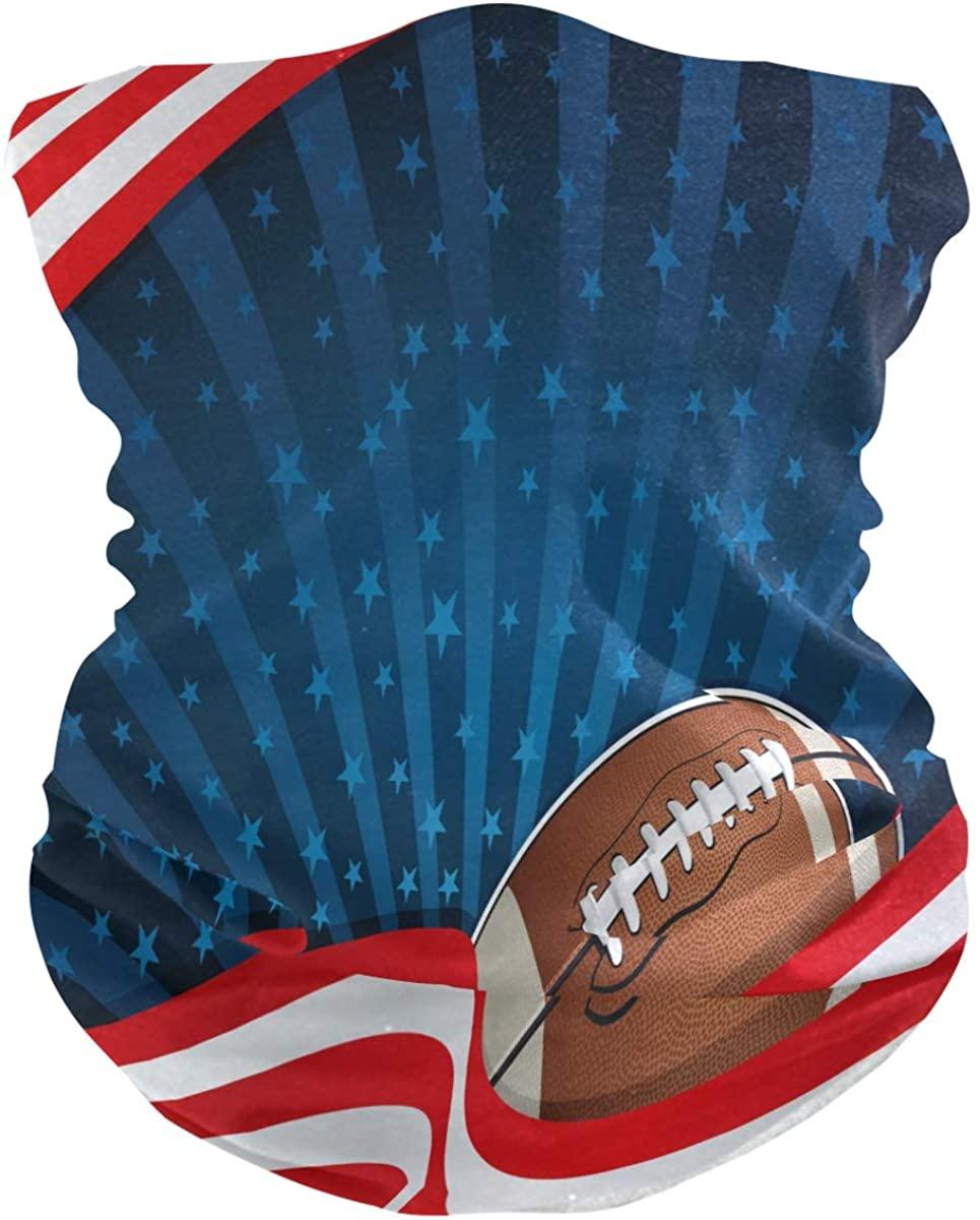 XMCL Bandana American Football USA Flag Rave Mask Multifunction Magic Scarf Head Wrap Balaclava Anti-Sunburn Face Mask for Woman & Man
