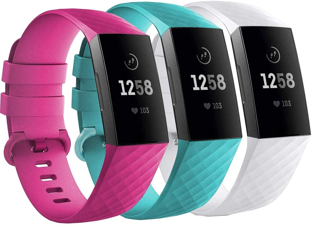 Replacement Wristbands for Fitbit Charge 3 SE and Fitbit Charge 4 (Large, White+Blue+Pink)