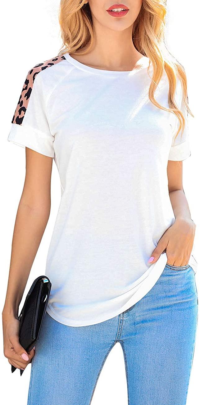 Cnokzol Women's Short Sleeve Leopard Print Round Neck T Shirts Casual Summer Tunic Tops Tee