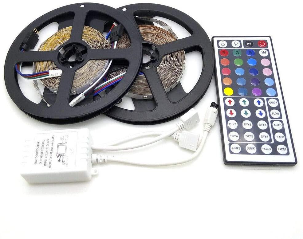 ELENKER 32FT/10M 3528 RGB Flexible 600 SMD LED Strip Light and 44 Key IR Remote Controller