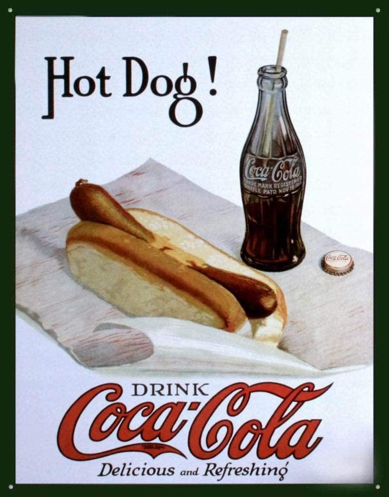 Ufcell Vintage Tin Metal Sign Coke Hot Dog Funny Wall Decor Art 8x12