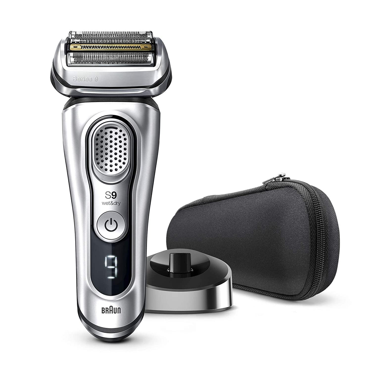 Braun Electric Razor for Men, Series 9 9330s Electric Shaver, Pop-Up Precision Trimmer, Rechargeable, Wet & Dry Foil Shaver with Travel Case, Silver