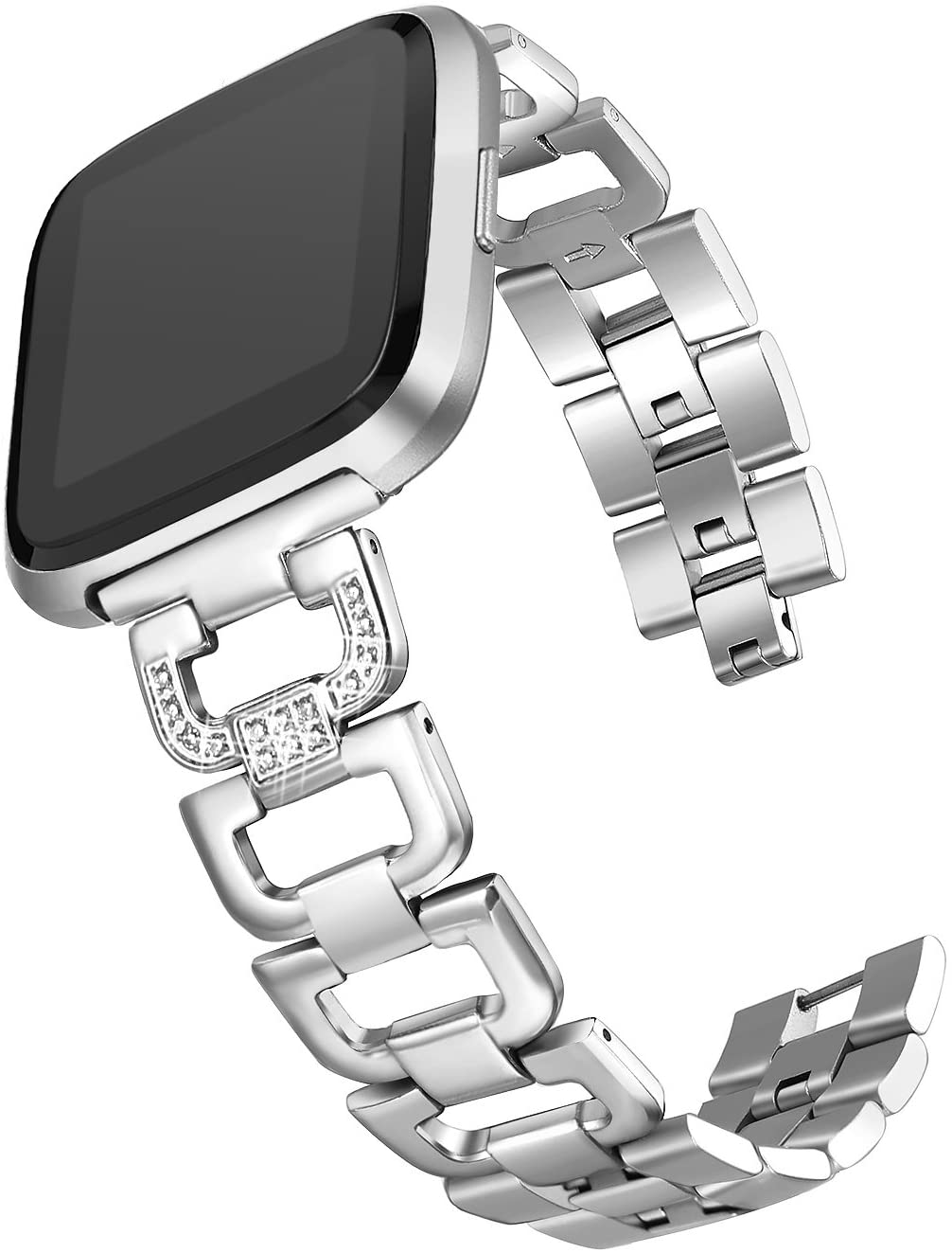 bayite Bling Bands Compatible with Fitbit Versa/Fitbit Versa Lite & SE/Fitbit Versa 2, Stainless Steel D-Link with Rhinestones, 5 Colors Available