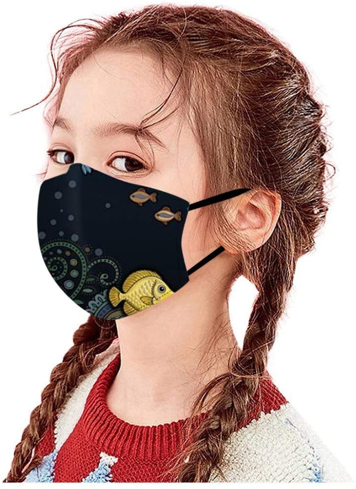 1PC Mask for Kid Washable and Reusable Outdoor Facial Warm Windproof Cotton Cartoon Face Mask Anti Dust Mouth Cover Fashion Kawaii Cute Dustproof PM2.5