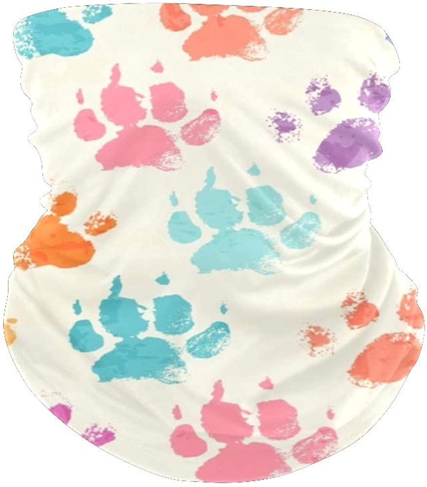 XOZOTY Balaclava Bandanas Face Mask Cover Colorful Dog Paw Neck Gaiter for Out Doors, Dust, UV Protection