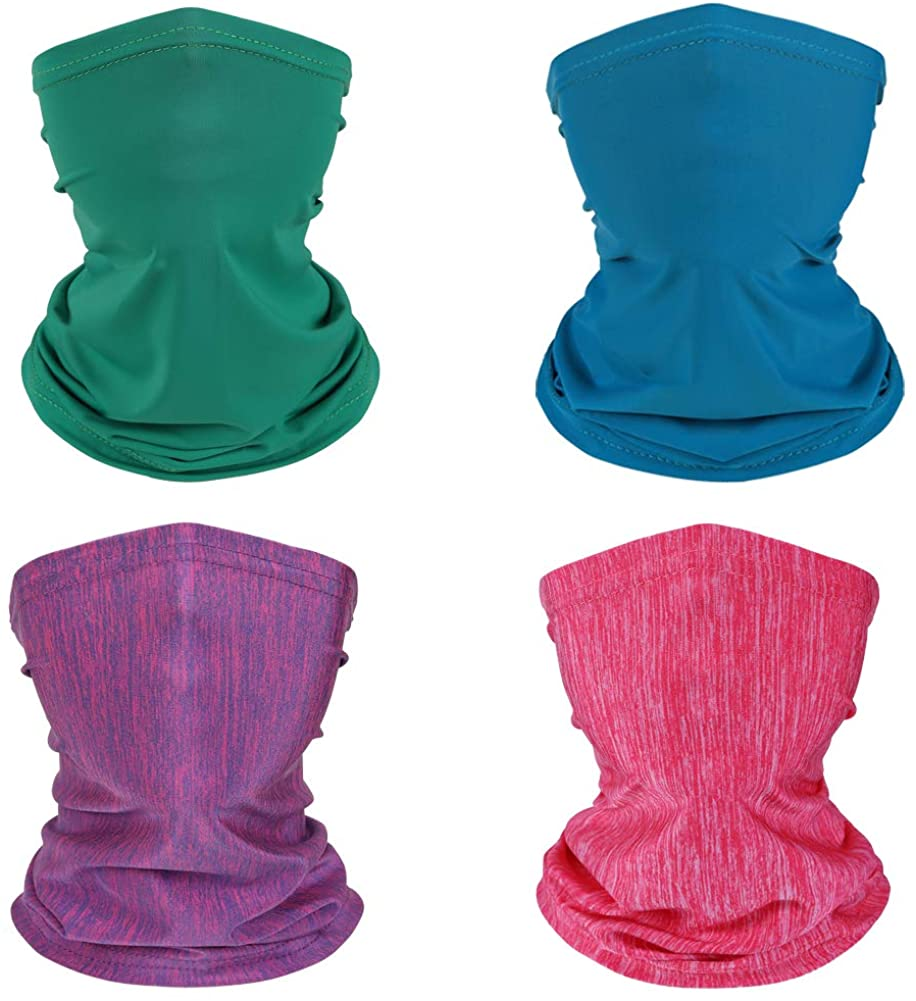 Kid Neck Gaiter Face Cover Scarf Bandanas for Hot Summer Neck Gaiters for Kids Cycling Hiking 4 Packs