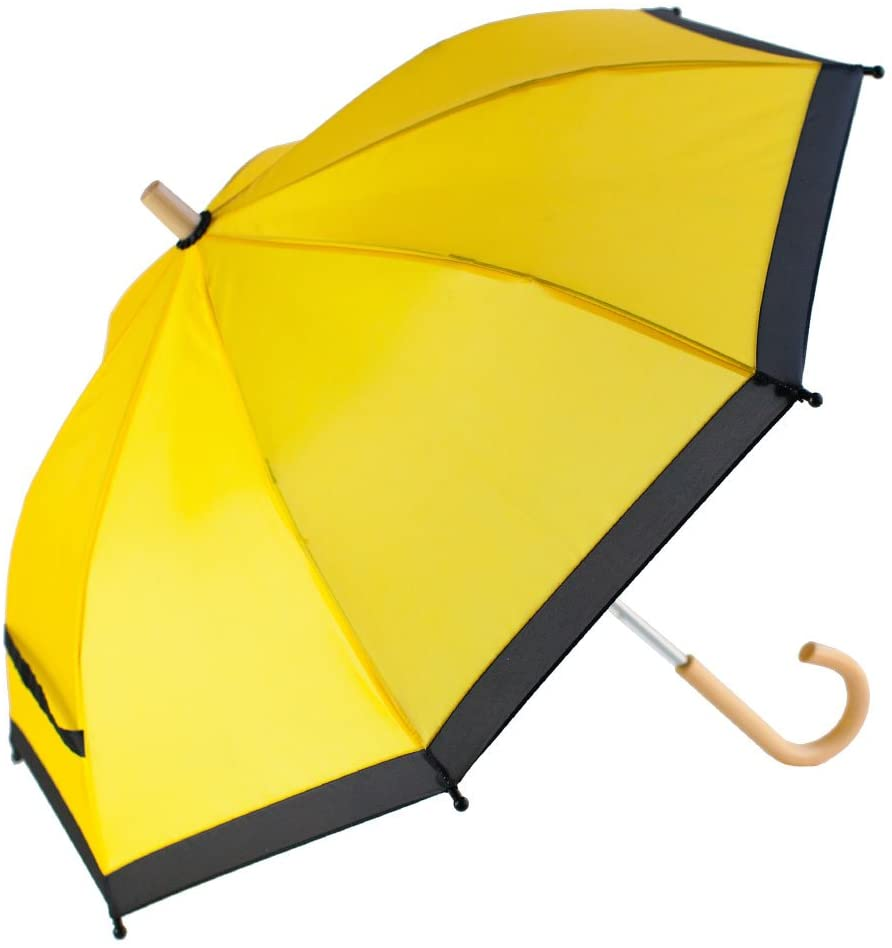 OAKI Double Layer Waterproof Kids Umbrellas with Windproof, UV Protection and C-Shaped Kid's Easy Hold Handle (Yellow)