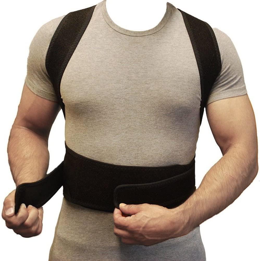 Adjustable Back Support Improve Bad Posture Corrector Comfortable for Men Women Neck Shoulder Support Belt Black (M)