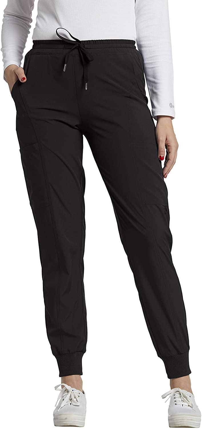White Cross FIT Women's 365 Mid-Rise Cargo Jogger Scrub Pant-Black-X-Small