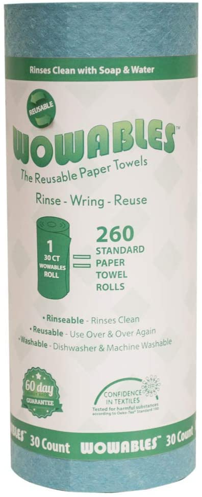 Wowables Reusable & Biodegradable Paper Towel - Teal | 30 Sheets of Reusable and Washable Paper Towels | Replaces up to 13,260 Disposable Paper Towel Sheets | Dishwasher and Machine Washable