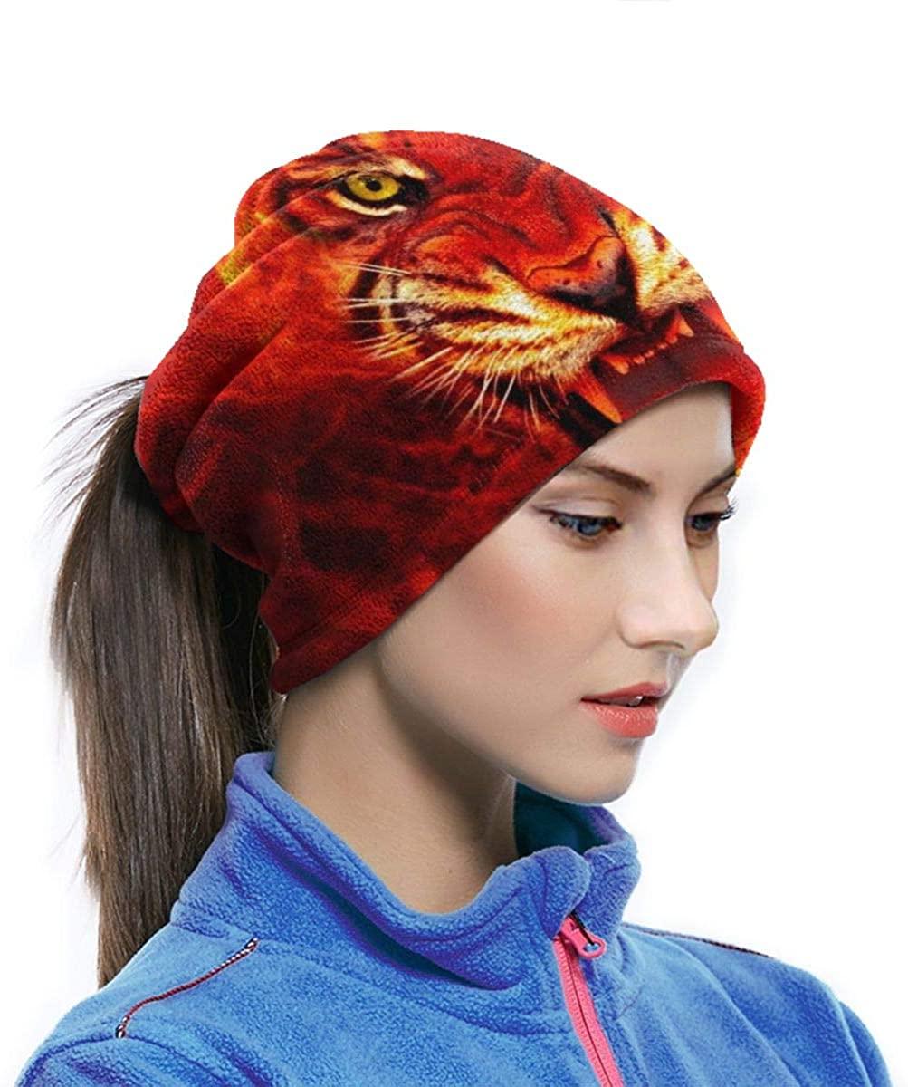 Fire King Tiger Face Unisex Fleece Neck Gaiter Warmer Winter Windproof Ski Face Mask Balaclava Half Mask For Women Men