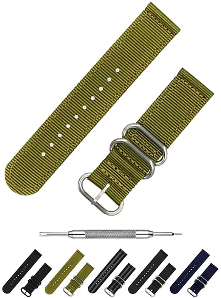 Benchmark Basics Nylon Watch Band – 2-Piece Zulu Strap - 18mm, 20mm & 22mm - 4 Colors