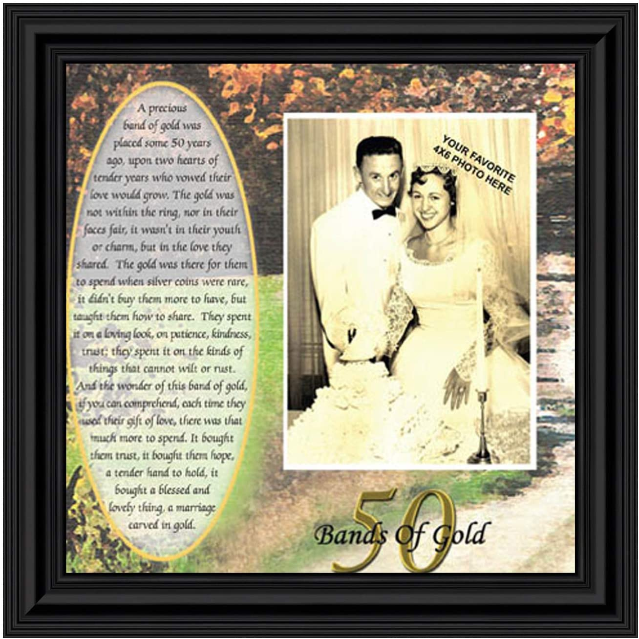 Crossroads Home Décor Bands of Gold, Personalized 50th Wedding Picture Frame, 6779B